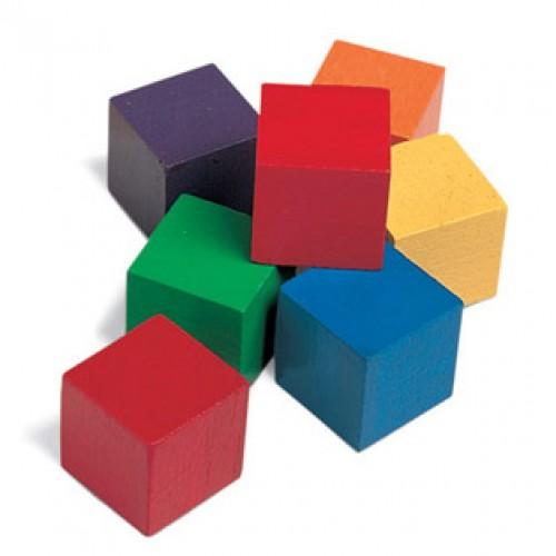 "1"" Wooden Color Cubes, Set of 102"