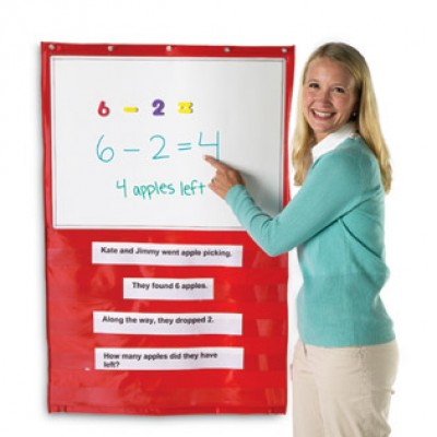 Write-On/Wipe-Off Magnetic Hanging Pocket Chart