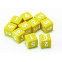 6 Sided Number Dice, Set of 10