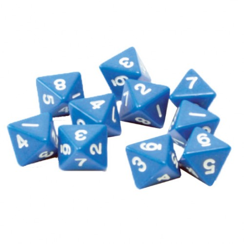 8 Sided Polyhedral Dice, Set of 10