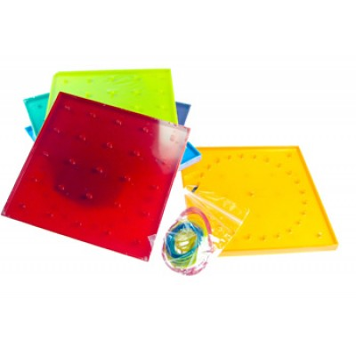 Double Sided 5 pin x 5pin Geoboard, Set of 6