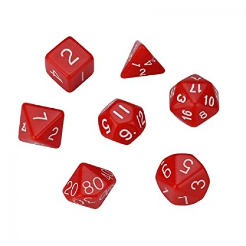 Polyhedral Dice, Set of 7 - Red