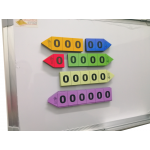 Magnetic Place Value Arrows, Extended version, Set of 60 pieces.