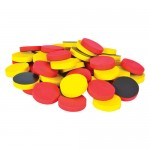 Magnetic Yellow and Red Counters - 1 inch Set of 100 pieces