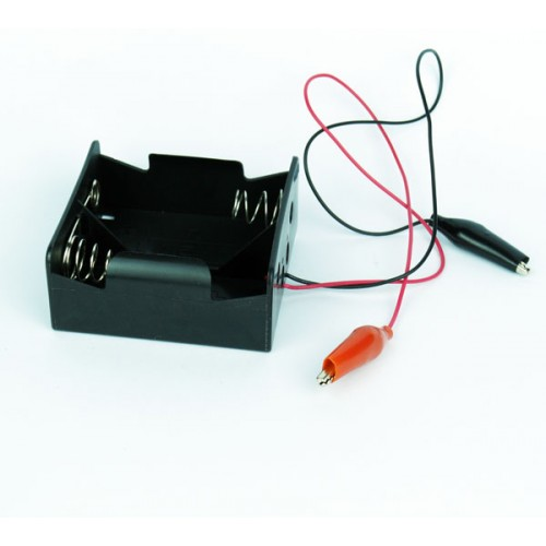 2xD battery Holders with wires and crocodile clips