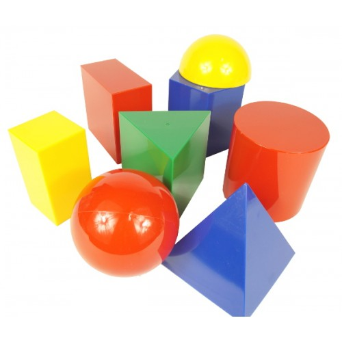 3-Dimensional Geometric Solids, Set of 17 shapes